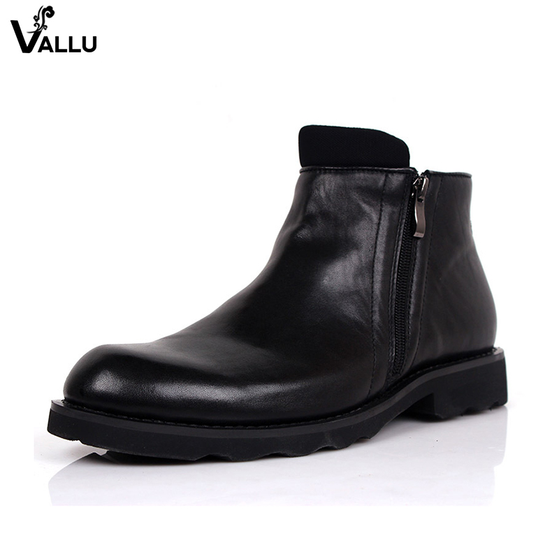 Comfortable Original Leather Men Boots New Fashion Calf Leather Zipper Male Booties Winter Square Heel Mans Shoes british england style stylish men boots natural leather round toe chunky heel male ankle booties comfortable new mans shoes