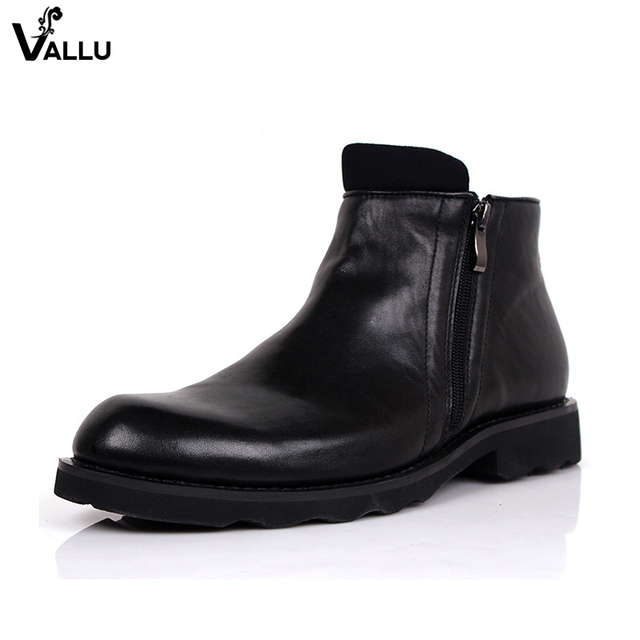 Comfortable Original Leather Men Boots New Fashion Calf Leather Zipper Male Booties Winter Square Heel Mans Shoes