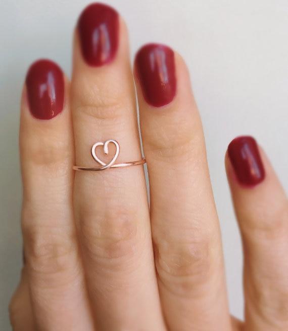 PINJEAS Midi Heart Ring midi knuckle Weeding Love Cute Handmade Adjustable rings minimalist Jewelry Christmas Gifts