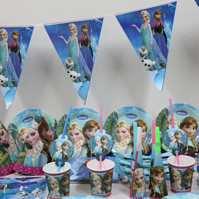 6 people use tablecloth paper plate cup banner cartoon elsa anna 92 pcs/lot kids girl happy birthday party decoration supplies
