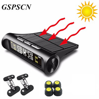 Car TPMS Tyre Pressure Monitoring System Wireless Solar Power Fast Charging Digital LCD Display Auto Security