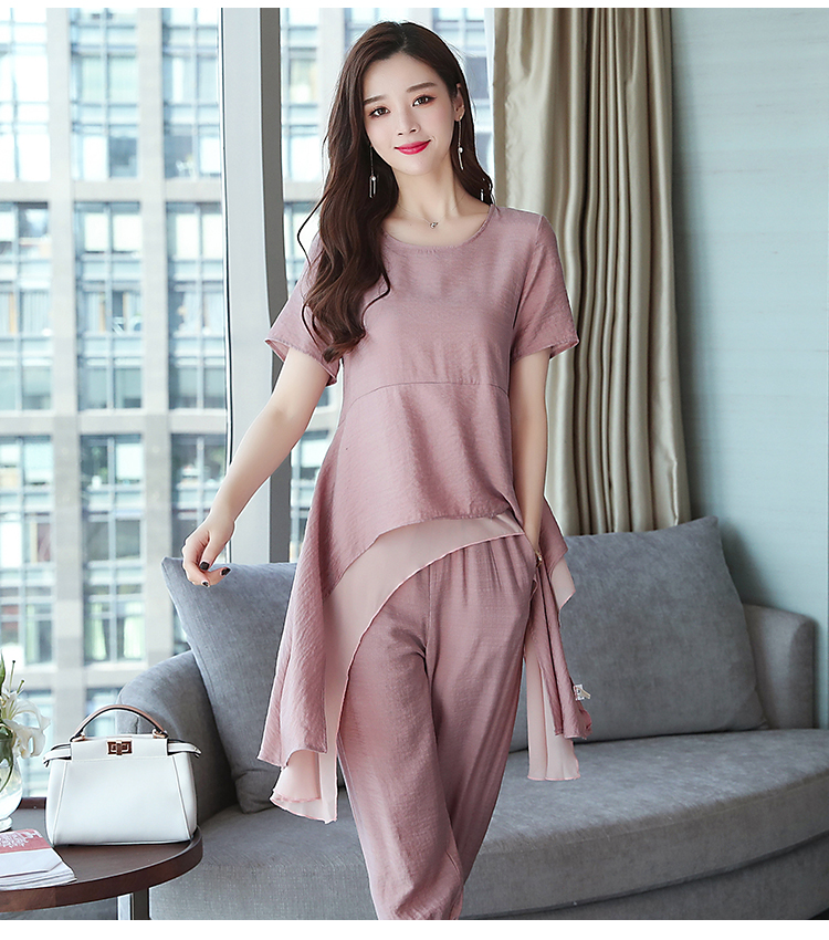 2019 Summer Linen Two Piece Sets Women Plus Size Short Sleeve Tops And Cropped Pants Suits Office Elegant Casual Women's Sets 65