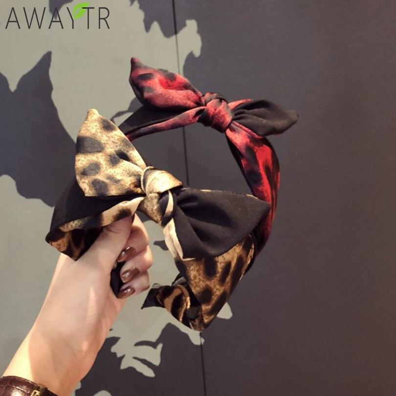 Ladies Leopard Bow Headband Fashion Headbands For Women Elastic Satin Slip Cotton   Headwear   Knotted Head Band Hair Accessories