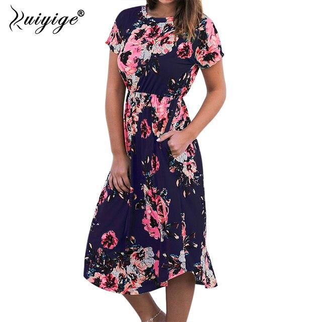 Ruiyige 2018 Women Floral Print Boho Long Dresses Sexy Summer Maxi Beach Tunic Dress Holiday Short Sleeve Pocket O-neck Vestidos