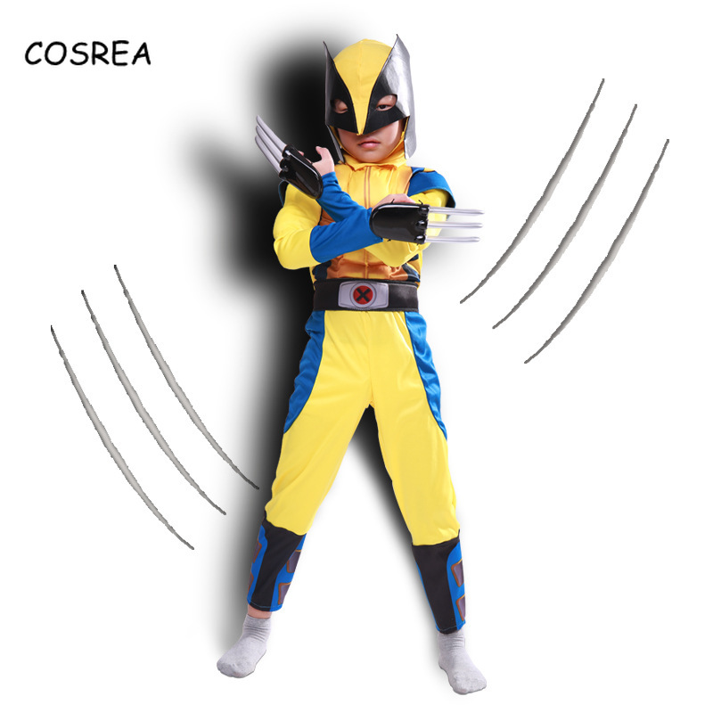 COSREA Brave Superman Hero Halloween Cosplay Avengers Costume Wolverine Chidren Full Set Muscle Performance Clothing Mask Gloves