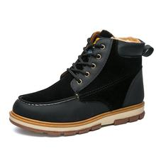 Super Warm Men's Winter Pu Leather Ankle Boots Men Winter Waterproof Snow Boots Leisure Martin Winter Boots Shoes Mens