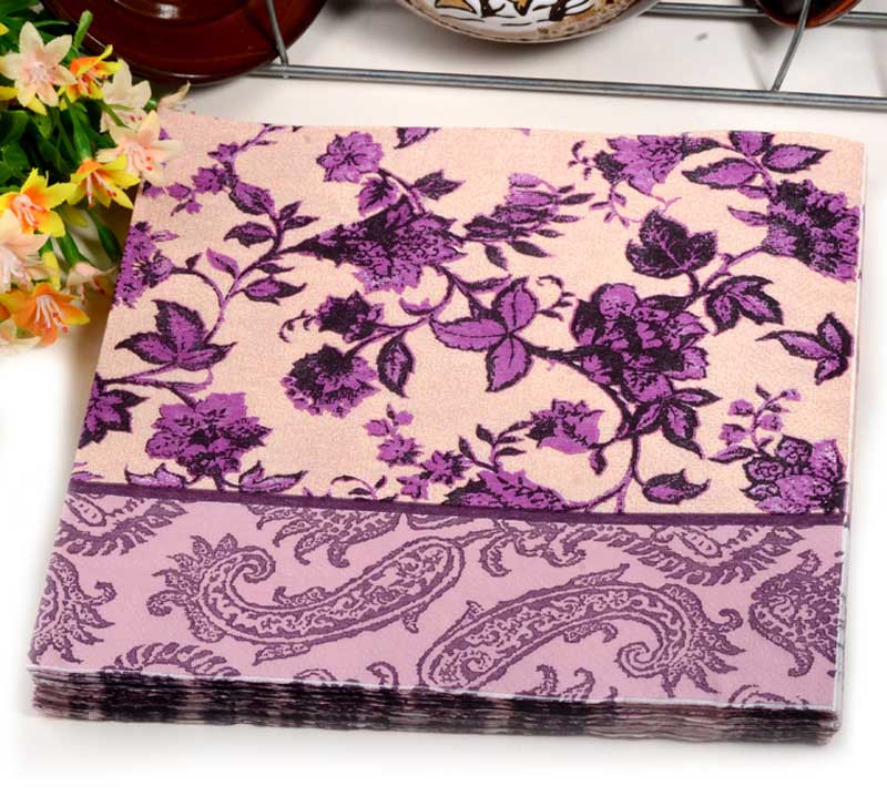 20pcs Food Grated Paper Napkin Flower Design Vintage Purple Printed Placemat Wedding Cafe Party Decoration Luhongparty In Disposable Tableware