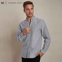 ANDREW MARC 2018 Men Casual Cotton Shirt Turn Down Collar Long Sleeve Shirt for Man TM8GS161