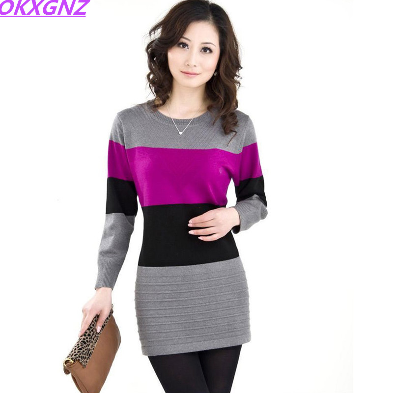 OKXGNZ Shirt Sweater Clothing Pullover Loose Knitted Wool Autumn Winter Stripe Plus-Size