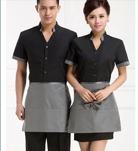 Uniforme de Hotel, casa de té de café de verano, Hotel, restaurante, camarero, de Trabajo Ropa, uniformes de manga corta con delantal