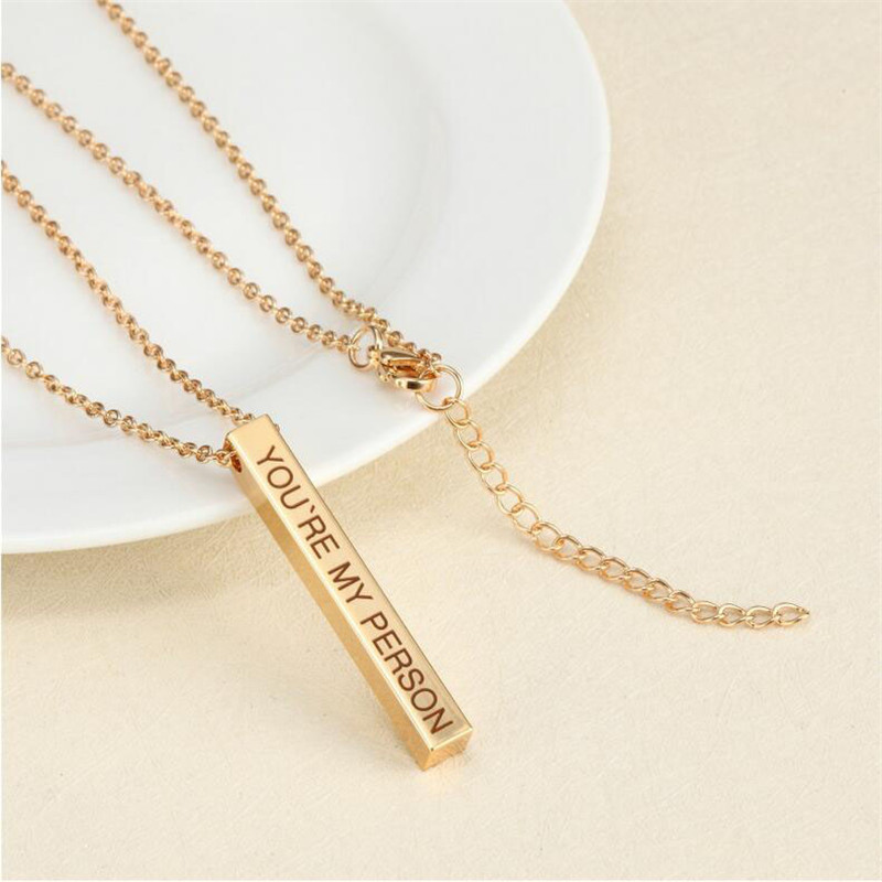 Four Sides Engraving Personalized Square Bar Custom Name Necklace Stainless Steel Pendant Necklace Women/Men 4