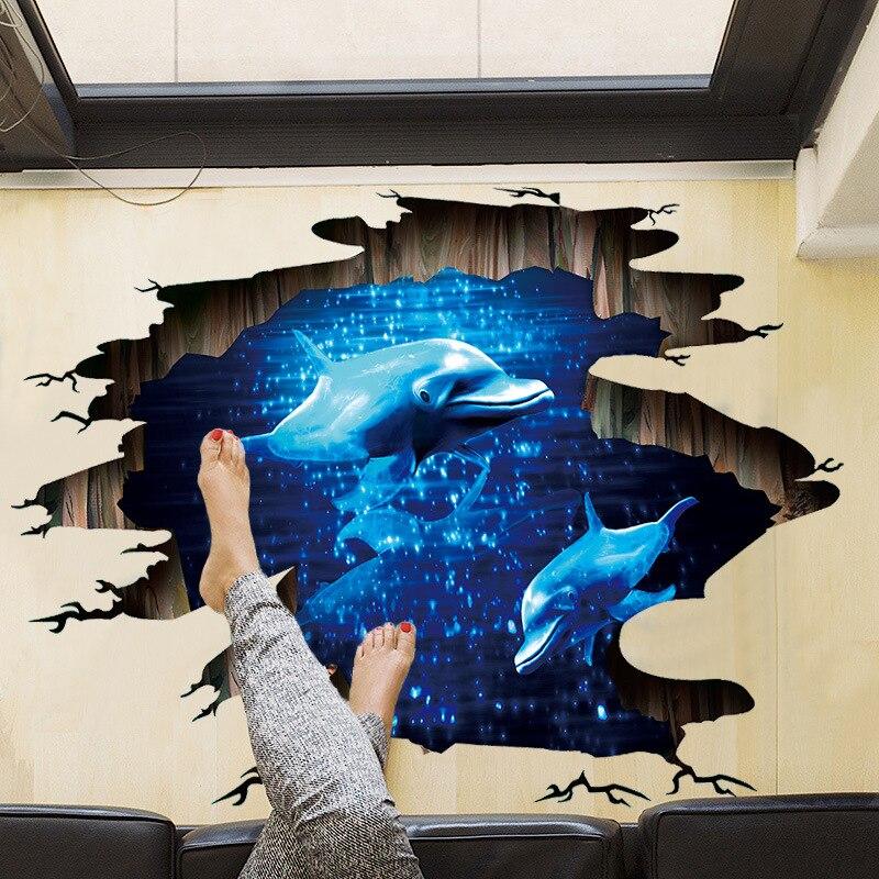 Newest 3D Broken Wall Floor Sticker Waterproof Blue Phantom Dolphin Wall Sticker For Kids Rooms Home Decor Roof Art Mural Poster