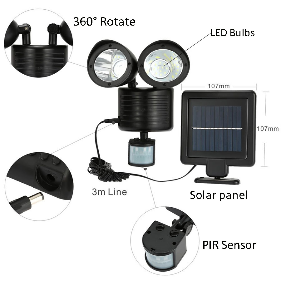 Newstyle 22leds LED Solar Light Twin Head PIR Motion Sensor Lighting Outdoor Solar lamp  ...