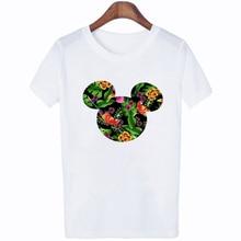 FIXSYS Summer Women White Tee Cartoon Printed Tops Fashion Short Sleeve T-shirts Casual T-shirt Female Shirts Cute