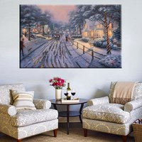 Cosy Snow Night Thomas Kinkade Landscape Painting Reproduction Street in Snow Night Prints Canvas for Home Decor Wall Art