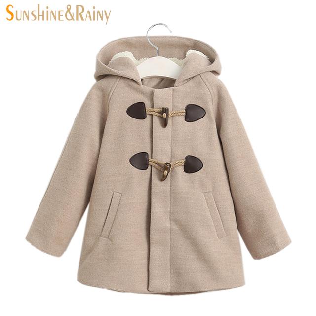 Ins * Filhos Adoráveis Longo Orelha de Coelho Casaco De Lã Para Menina Engrossar inverno Quente Do Bebê Meninas Jaquetas E Casacos de Moda Infantil Outerwear