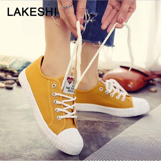 Fashion New Women Vulcanize Shoes Women Flats Canvas Shoes Platform Shoes Women Sneakers Solid Sewing Wild Female Shoes Footwear