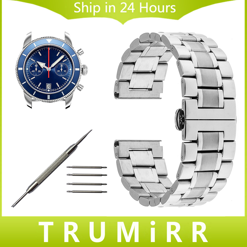 Stainless Steel Watchband 22mm 24mm for Breitling Watch Band Butterfly Buckle Strap Wrist Belt Bracelet Silver +Tool +Spring Bar stainless steel cuticle removal shovel tool silver