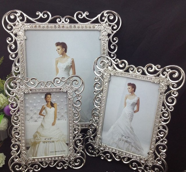 high end 8x10 inch sided rectangle metal wedding frames silver box