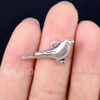 40pcs-античное серебро 3D Воробей кулон шармы в форме птицы 25x12x5mm
