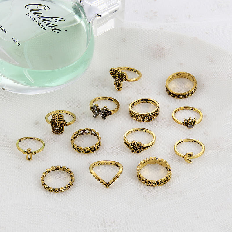 Itenice 13pcs/lot vintage fashion jewelry boho style rings Elephant hand flower leaf bud rong Electrical black treatment ring ...
