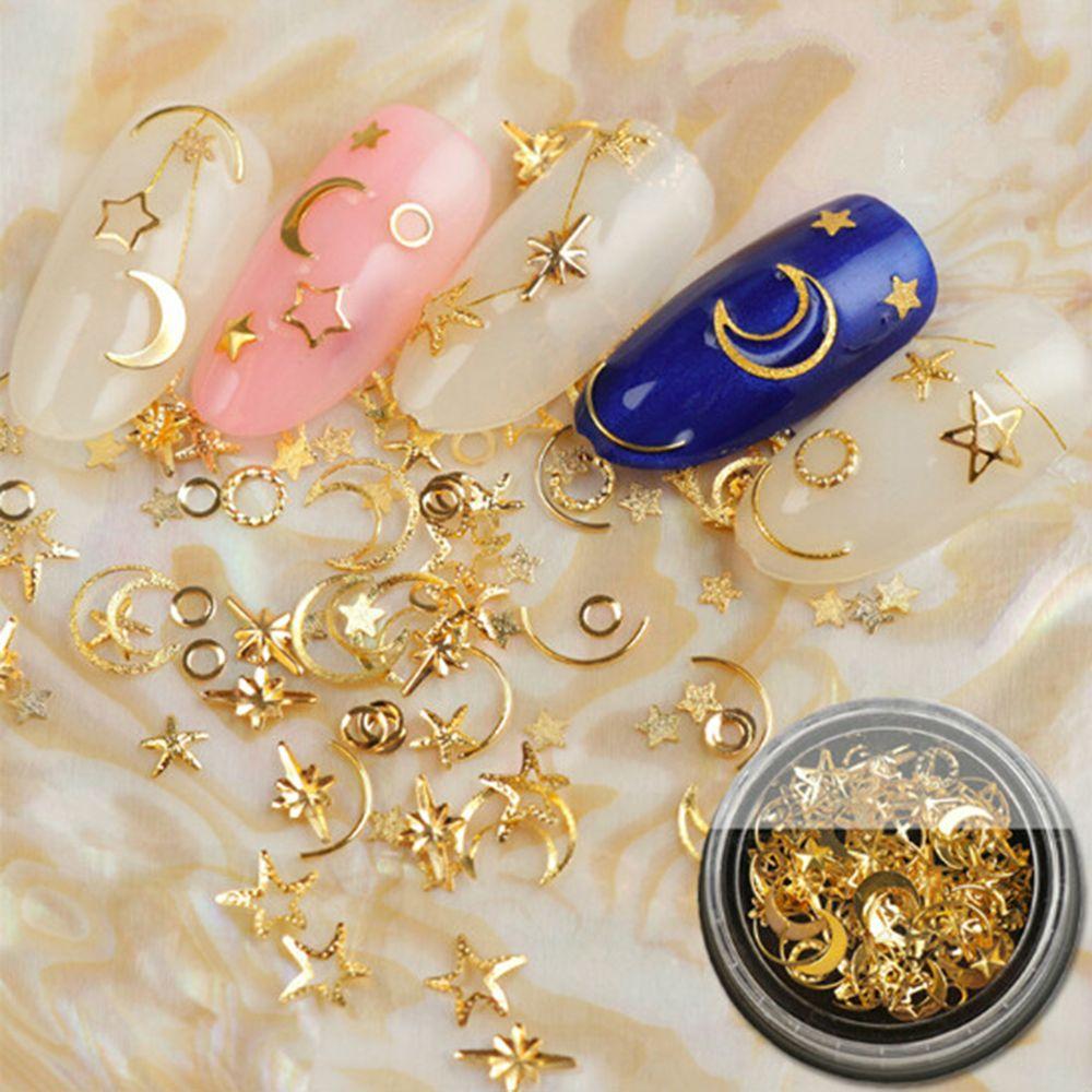 Золотые медные заклепки для ногтей цветок океана Звезда Луна дизайн панк украшения для ногтей серебро 3D украшение для ногтей для маникюра