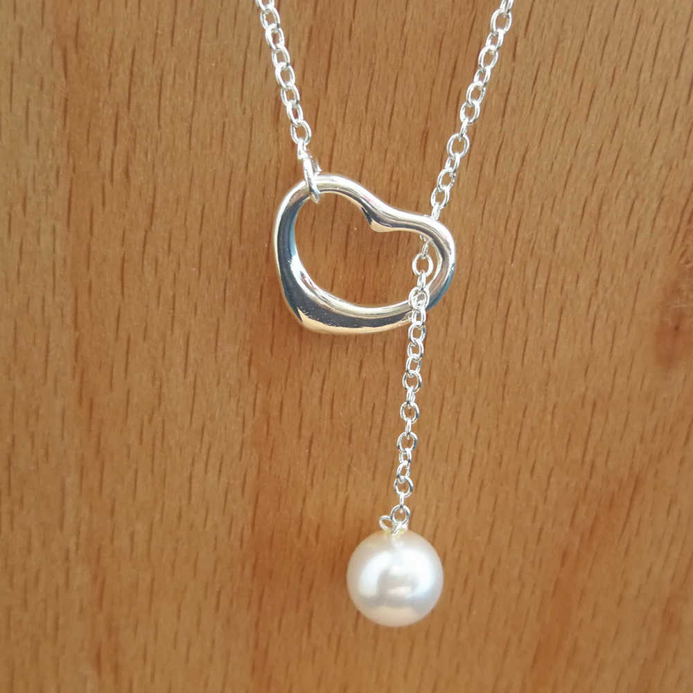 Sterling Silver Necklaces For Women Heart Freshwater Pearl Pendant & Necklace Collier Femme Choker Wedding Bridal Jewelry Gifts