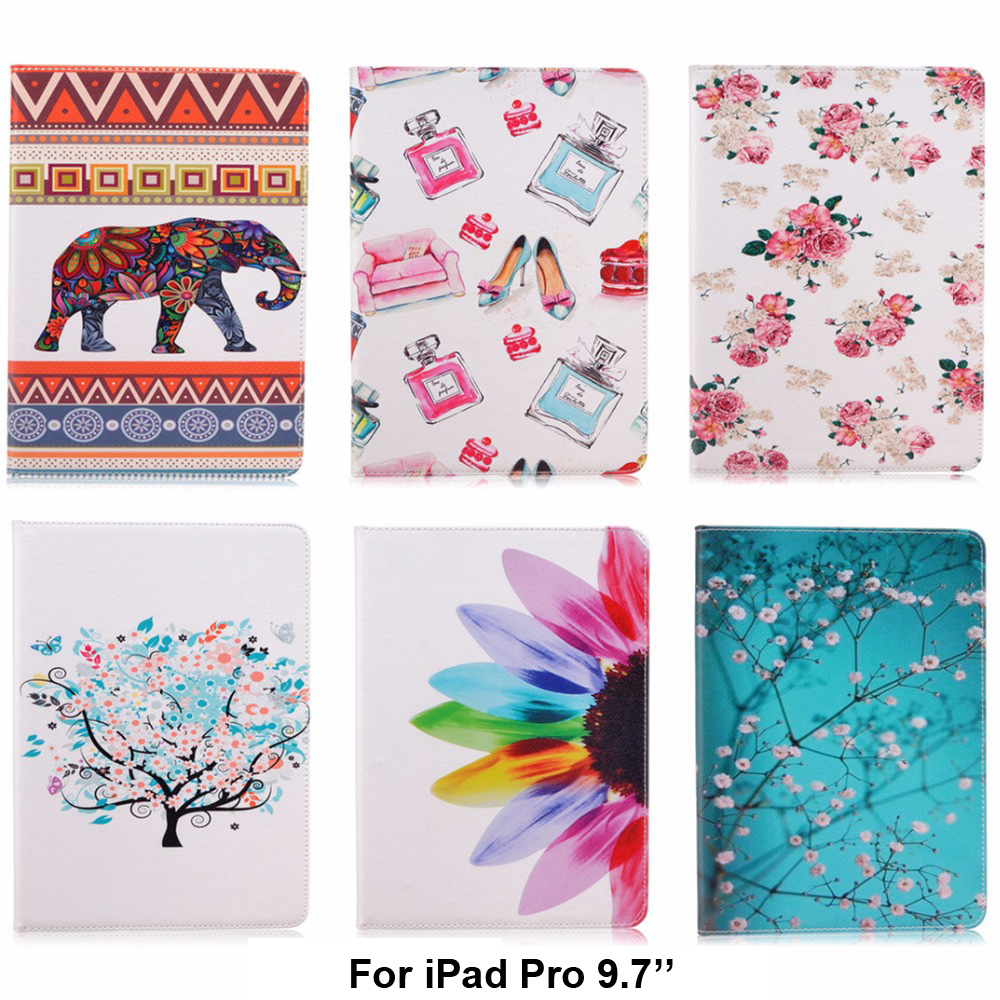 где купить For Apple iPad Pro 9.7 Flower Pattern Design Folio PU Leather cases for iPad Pro mini 9.7 inch Cover Tablet Shell Protector B120 дешево