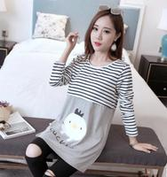 2017 Spring And Autumn Breast Feeding Tops Large Size Loose Long Sleeve Maternity Dresses T Shirts