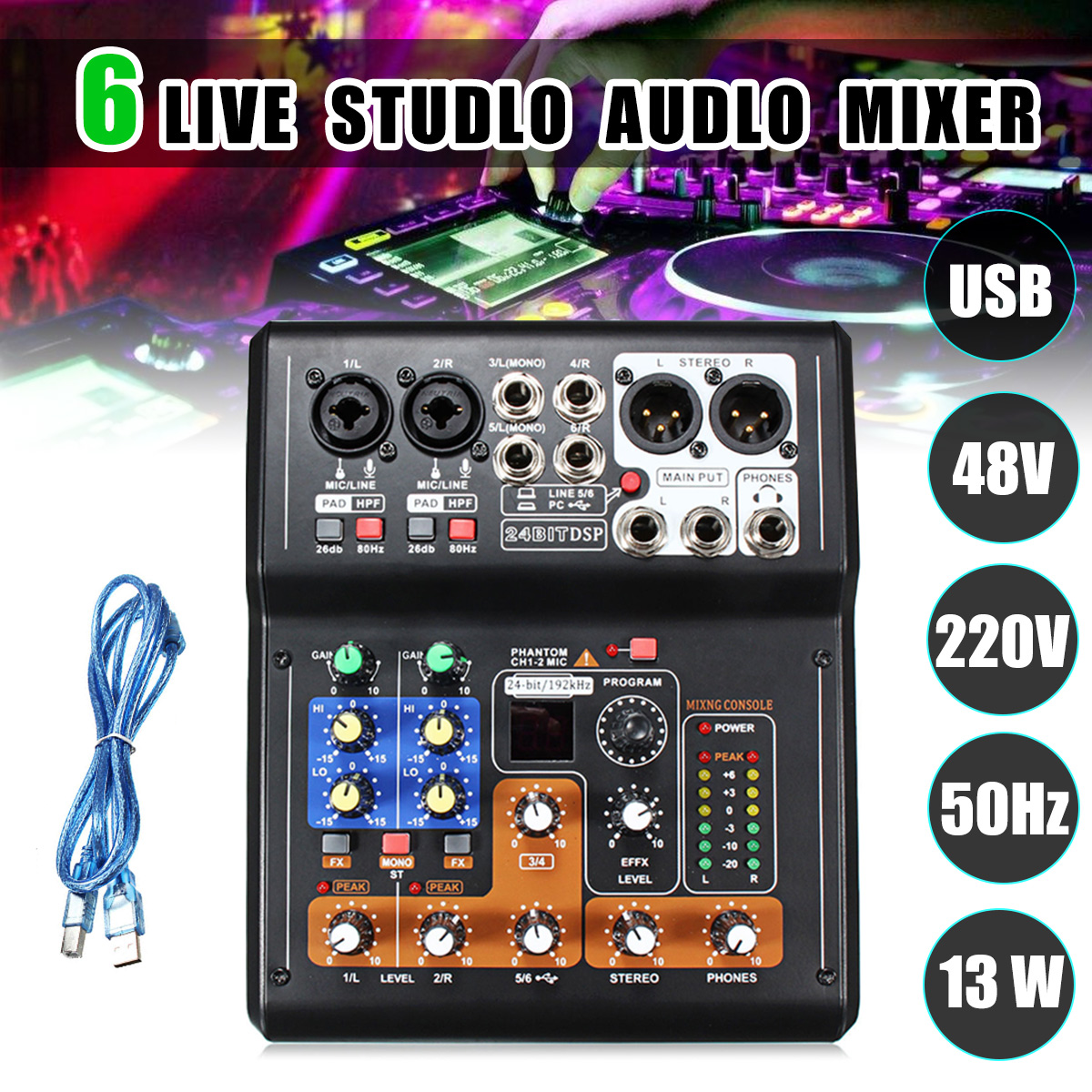 professional 6 channel live studio audio mixer phantom console mini usb amplifier digital mic. Black Bedroom Furniture Sets. Home Design Ideas