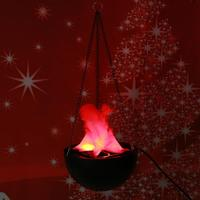 20cm Halloween LED Hanging Fake Flame Lamp Torch Light Fire Pot Decor Festival Party Funny Fake