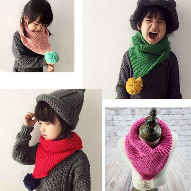 New Winter Wool Collar Scarf For Children Kids Knitted Collar With Ball Children's Scarves Neckerchief Clothing Accessories 2018