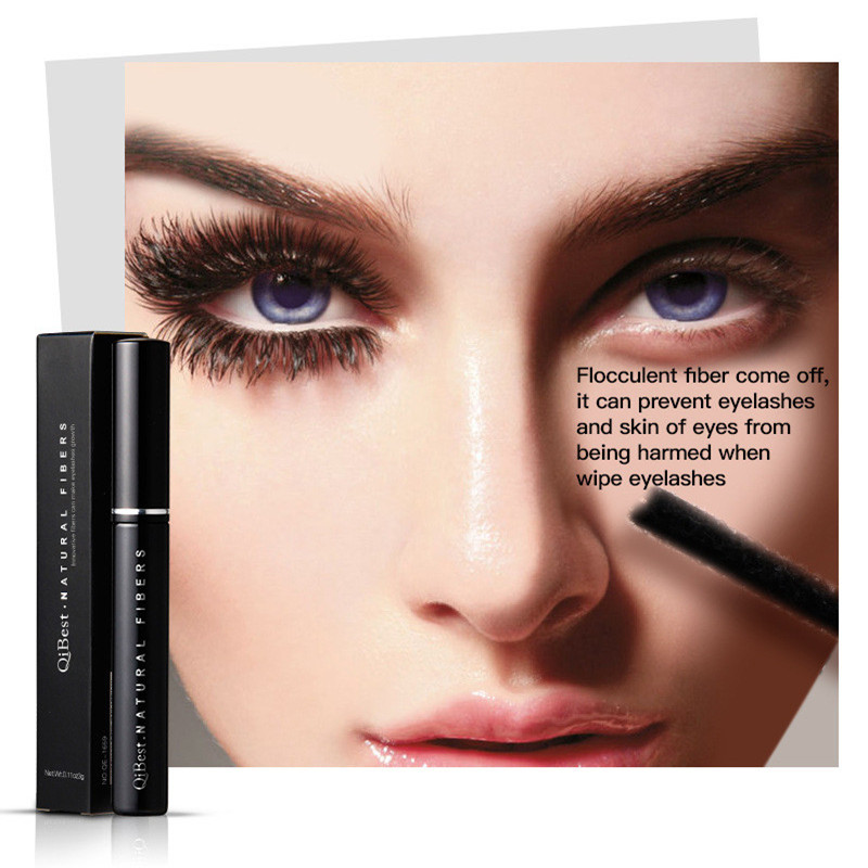 QiBest Black Gel Fiber Extended fiber Lashes Special Effects extended Eyelash Collocate With Eye Mascara Lengthening Thick 11g