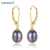 LUOTEEMI Brand 2018 High Quality 8 9mm Oval Freshwater Pearl Dangle Earring For Women 18K Gold