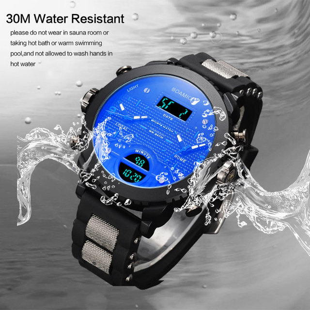 men watches BOAMIGO brand 3 time zone military sports watches male LED digital quartz wristwatches gift box relogio masculino 5