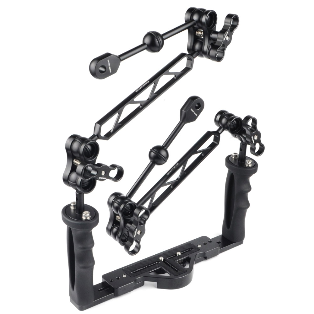 Dual Handle Handheld Stabilizer Diving Tray Grip W/ Double Ball Light Arm And YS Head Ball Clip For Underwater Camera Housings