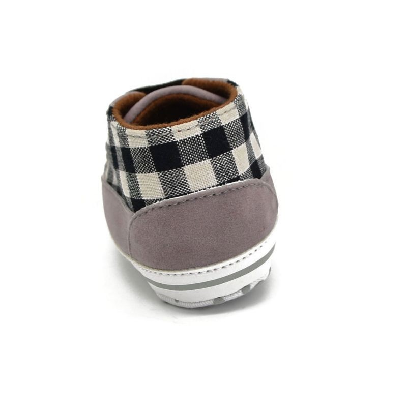Toddler Infant Baby Boy Shoes Laces Casual Sneaker PU Plaid Soft Sole Crib Shoes 7