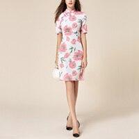 New 2016 Autumn Fashion Women Clothes Print Floral Vintage Chinese Style Cheongsam Slim Split Elegant Ladies