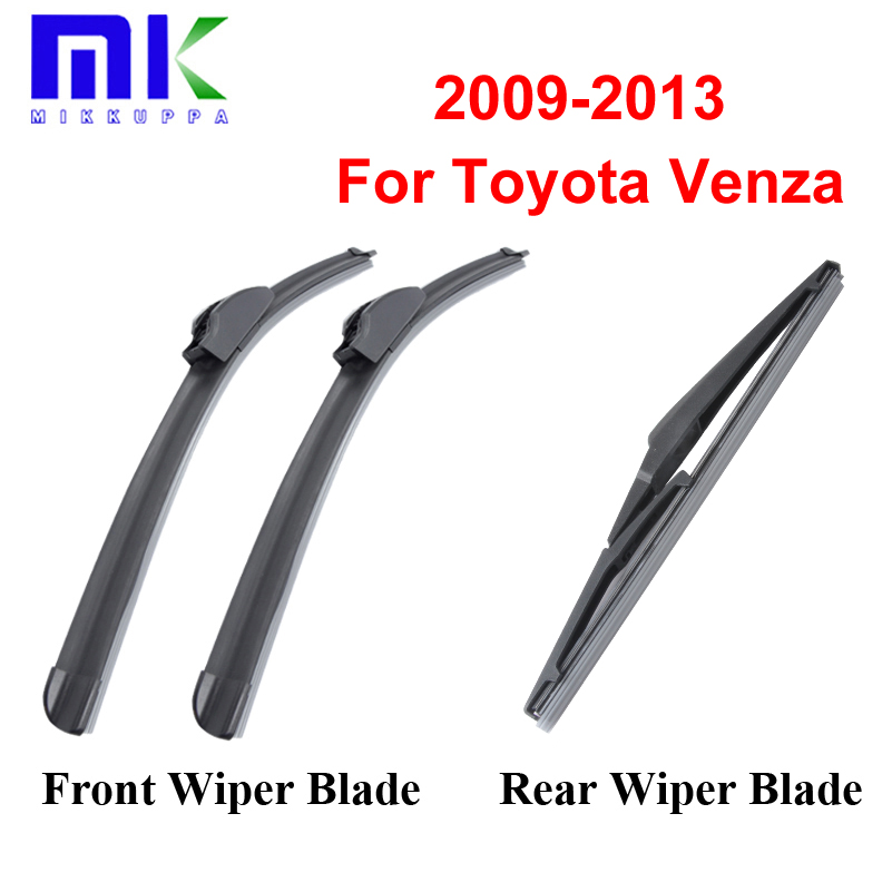 Combo Silicone Front And Rear Wiper Blades For Toyota Venza 2009 2013 Windscreen Rubbers Wipers Car