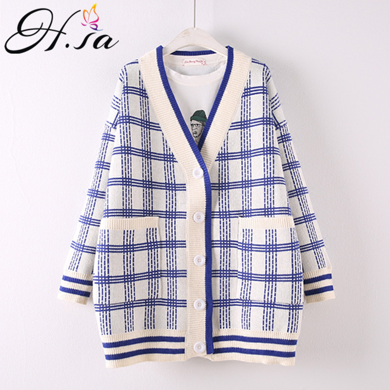 H SA Korean Long Cardigans 2018 Women Sweaters Poncho Loose Style Plaid Jumpers Oversize Long Sweater