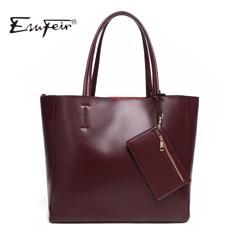 2017 ESUFEIR Brand Genuine Leather Women Handbag Fashion Shoulder Bag Solid Cowhide Composite Bag Large Capacity Casual Tote Bag esufeir brand genuine leather women handbag fashion designer serpentine cowhide shoulder bag women crossbody bag ladies tote bag
