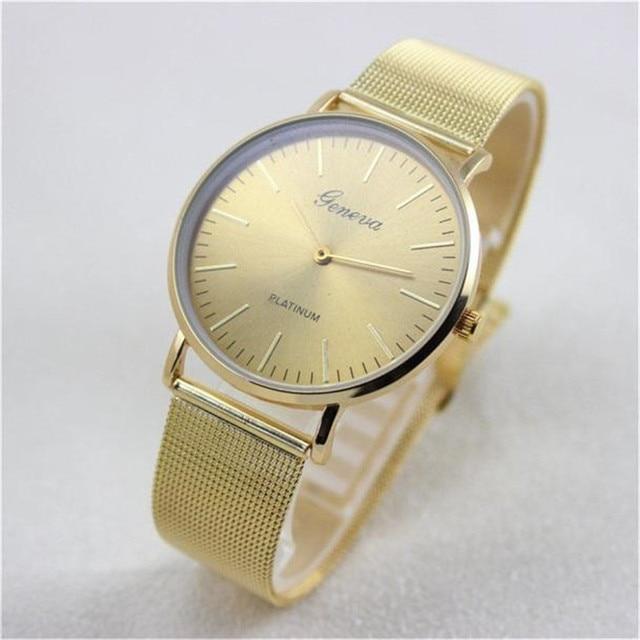 Waterproof Simple Watch Women Luxury Brand Clock Geneva Stainless Steel Buckle Quartz Wrist Watches Montre Femme kol saati
