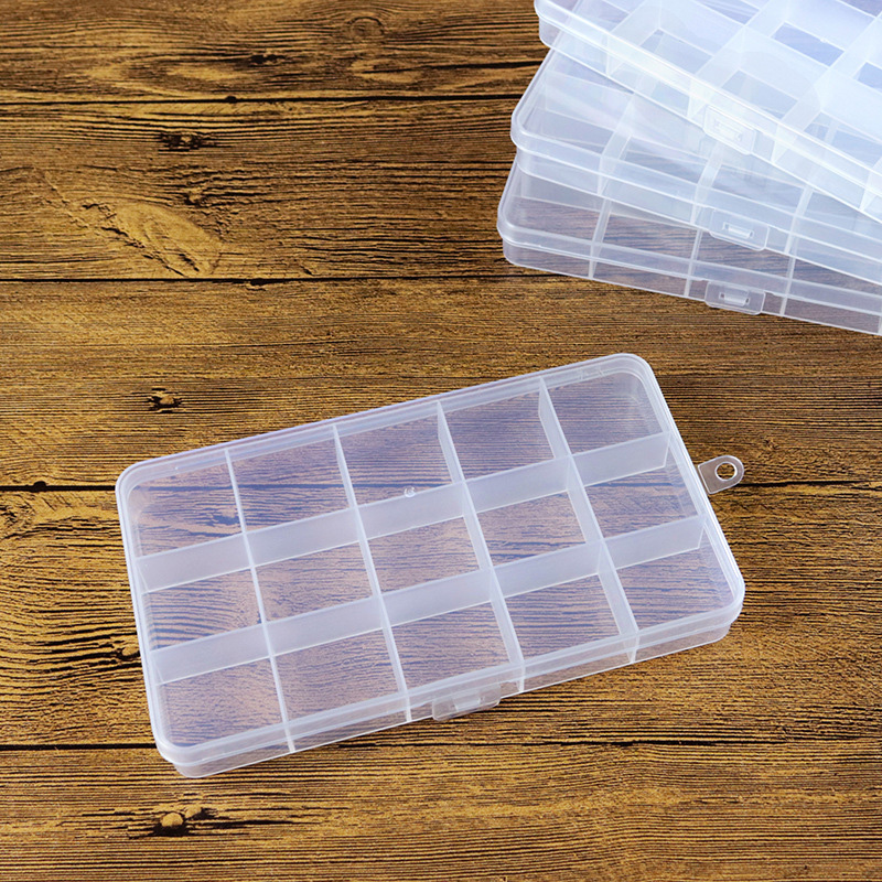 15 Grids Plastic Stable Storage Boxes Bins for Tools&Jewelry&Fishing Gear&Screw&Diamond Desk Organizer Office Holder Rectangle