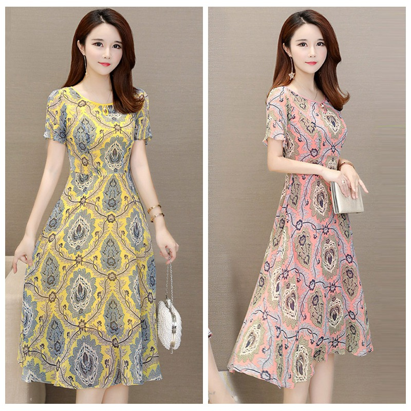 Fashion Sexy print lace women dress Summer Lady holiday A-Line long dresses