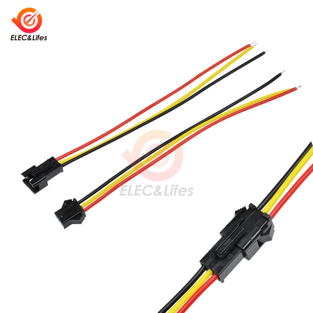 5 Pair 3 Pin JST SM Connectors Male and Female 3PIN For WS2812B WS2811 WS2812 LED Strip 10CM 15CM 30CM