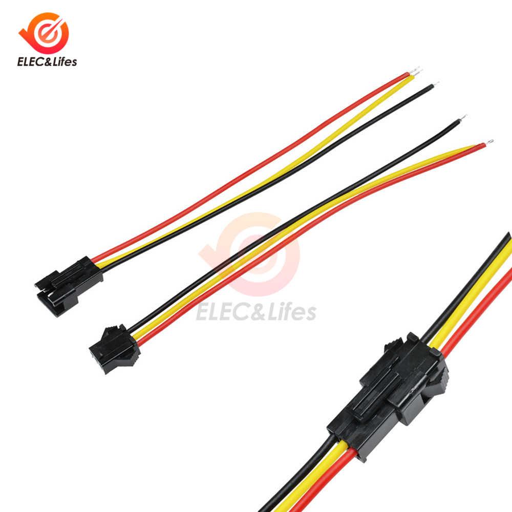 5 para 3 Pin JST SM złącza typu męskiego i żeńskiego 3PIN dla WS2812B WS2811 WS2812 taśmy LED 10CM 15CM 30CM