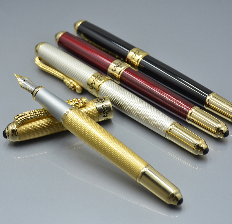 где купить JINHAO 1000 Luxury 4 Colors Fountain Pen With Golden Dragon Clip school Office stationery brand Writing Gift ink Pens по лучшей цене