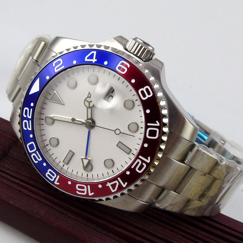 лучшая цена 43mm Bliger White Sterile Dial GMT Date Luminous Hands Sapphire Glass Automatic Movement Men's Watch