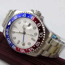 лучшая цена 43mm Bliger White Sterile Dial GMT Date Luminous Hands Sapphire Glass Automatic Movement Men's Watch