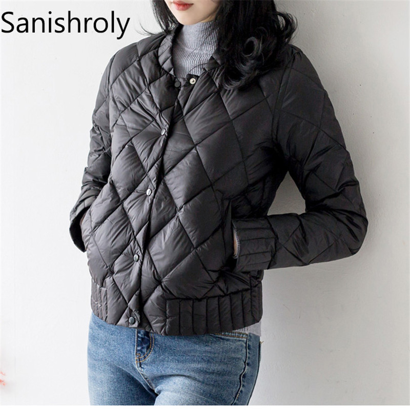 Sanishroly 2019 New Autumn Winter Women White Duck   Down   Jacket Female Ultra Light   Down     Coat   Parka Short Tops Plus Size 3XL SE425